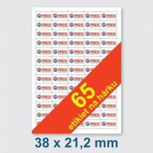 38 x 21,2 mm – 65 etikiet na hárku