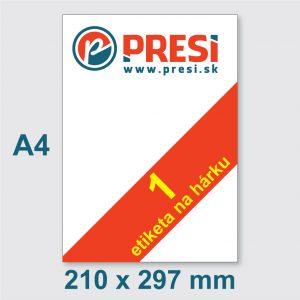 210 x 297 mm (A4) – 1 etiketa na hárku