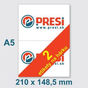 210 × 148,5mm  (A5) – 2 etikety na hárku