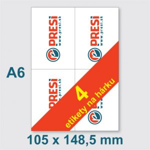 105 × 148 mm (A6) – 4 etikety na hárku