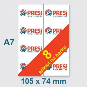 105 × 74 mm (A7) – 8 etikiet na hárku