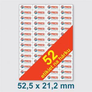 52,5 x 21,2 mm – 52 etikiet na hárku